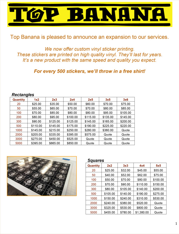 Top Banana Large Format Digital Printing Sticker Price List  Top